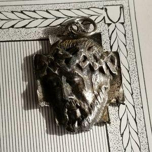 Vintage Jesus charm silver tone pendant charm meda